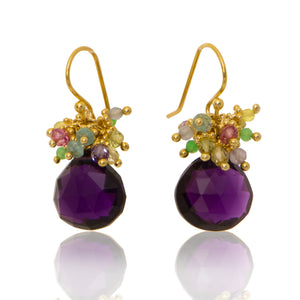 Purple Quartz Classic Earring with Pastel Top