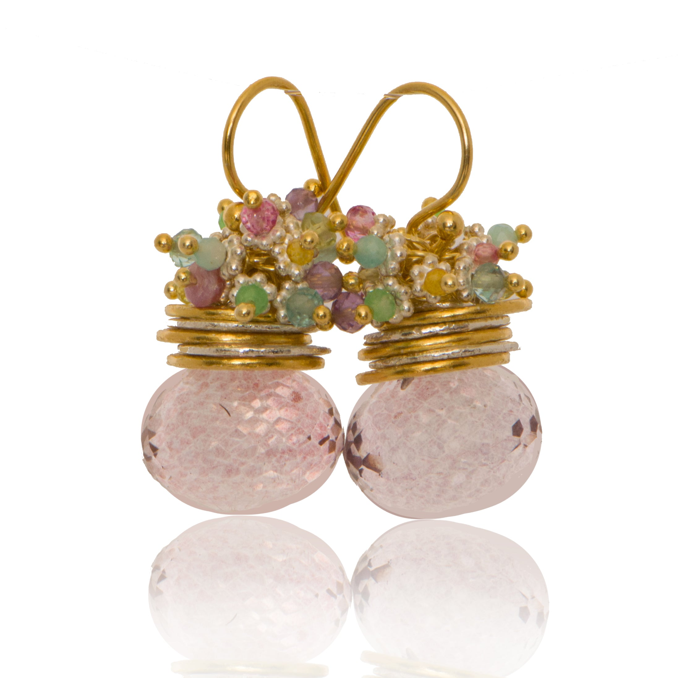 Pink Quartz Onion Queen Bee Earring with Pastel Top
