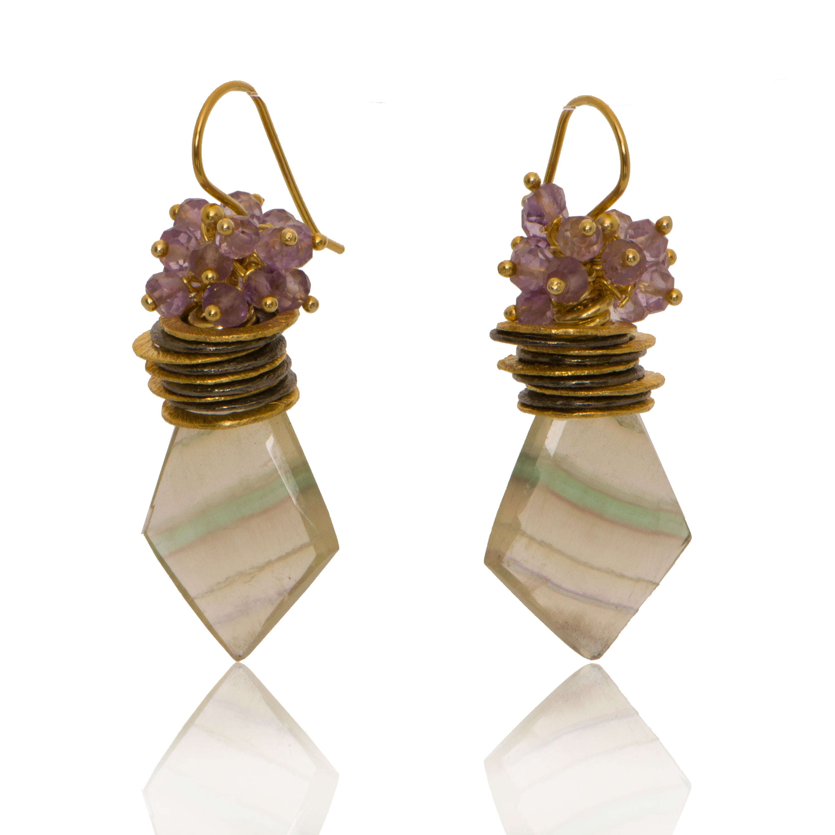 Flourite Kite Queen Bee Earrings with Amethyst Top