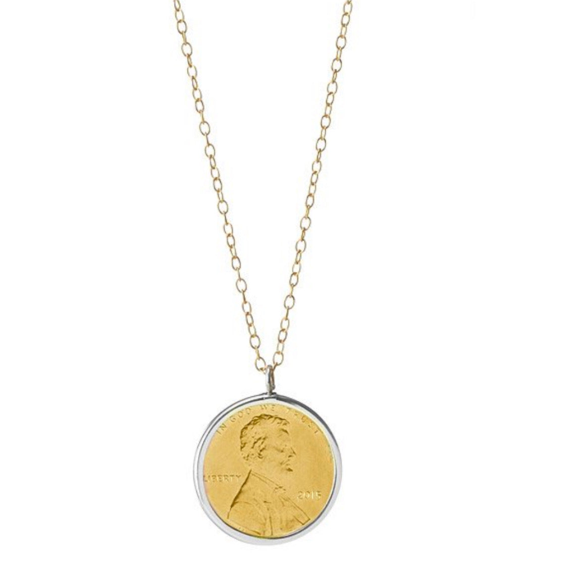 CUSTOMIZABLE Gold Plated Chain with YELLOW GOLD Plated Penny