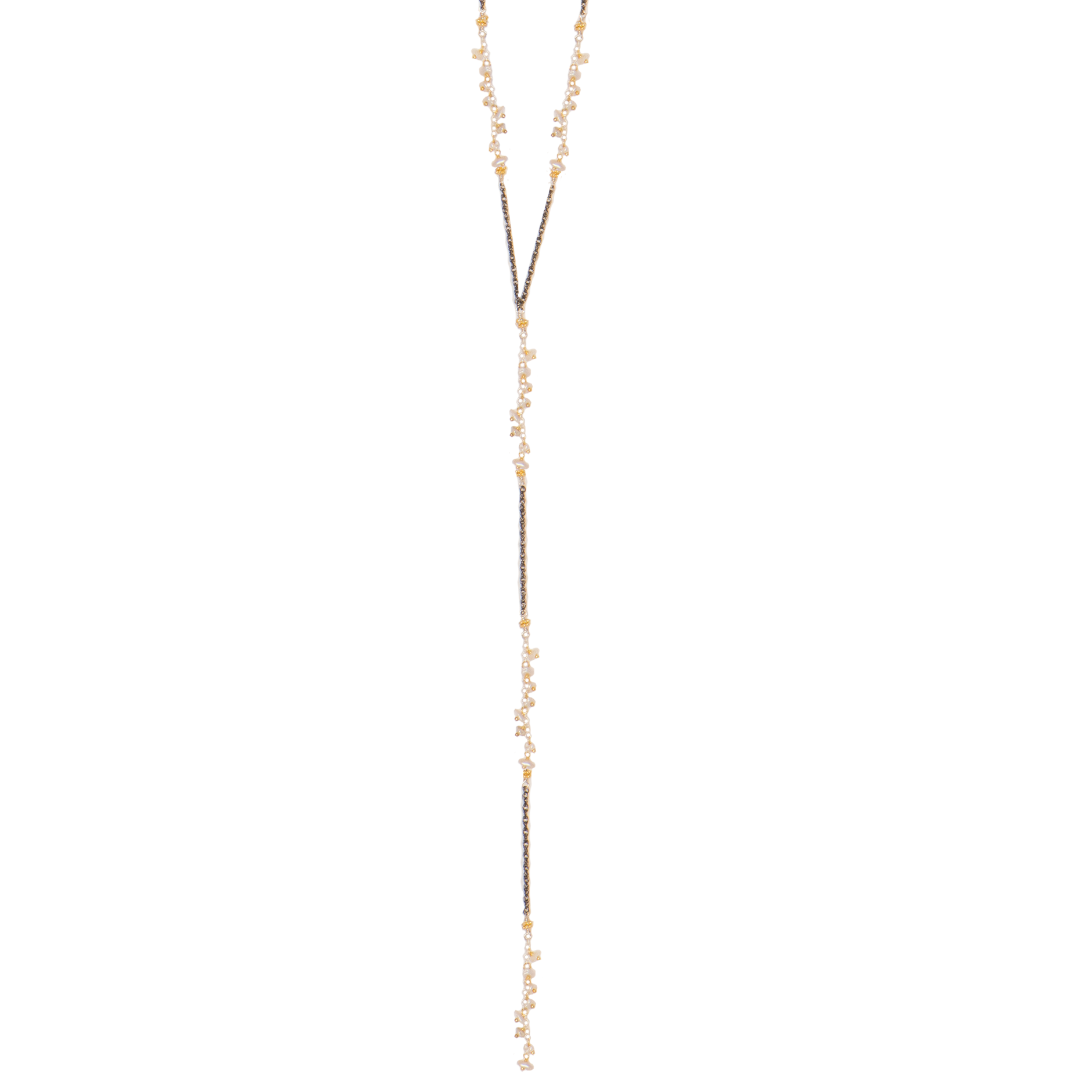 Tri Colored Sparkler with Keshi Pearl Lariat