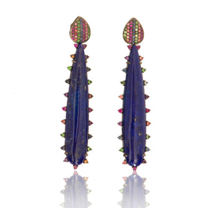 Lapis Earring with Rainbow Sapphires