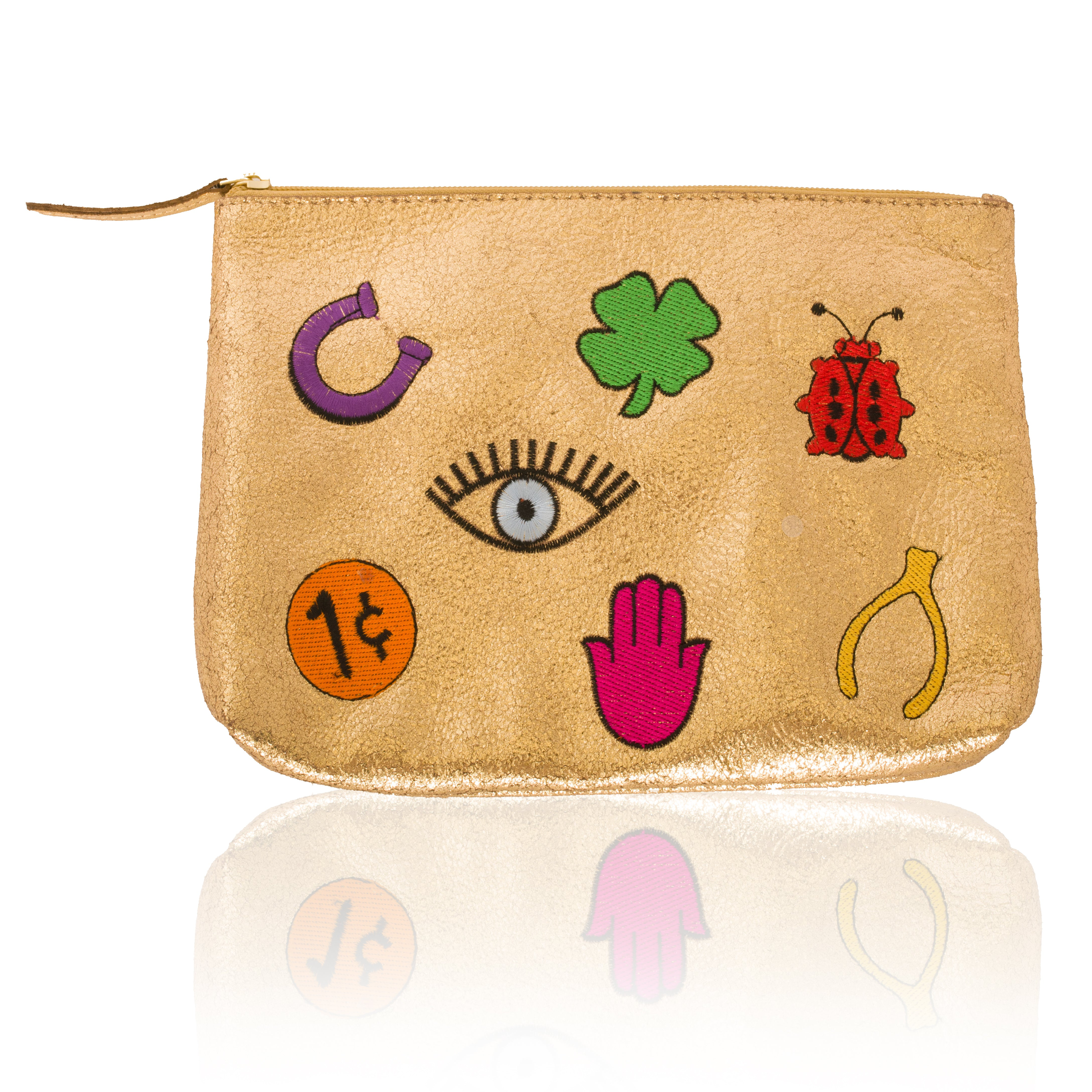 Leather Lucky Zip Clutch-Large