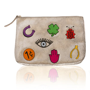 Leather Lucky Zip Clutch-Medium
