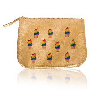 Leather Ice Cream Zip Clutch-Medium