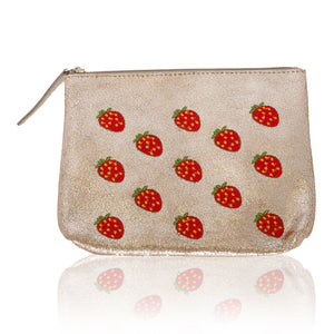 Leather Strawberry Zip Clutch-Medium