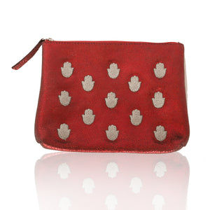 Leather Hamsa Zip Clutch-Medium