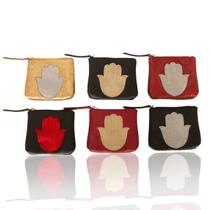 Leather Hamsa Coin Purse