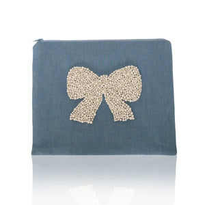 Bow Flat Zip Clutch