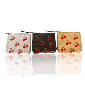 Leather Cherry Coin Purse