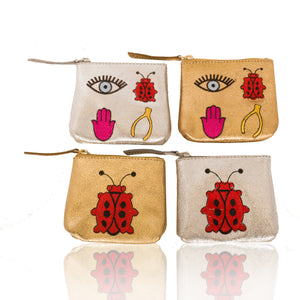 Leather So Lucky Coin Pouch/ Ladybug Coin Pouch