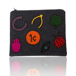 Lucky Symbol Flat Zip Clutch