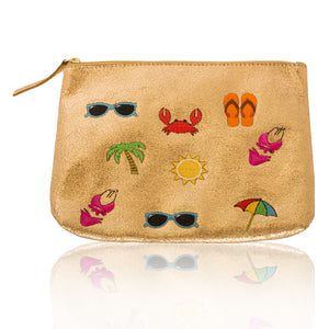 Leather Vacation Zip Clutch-Large