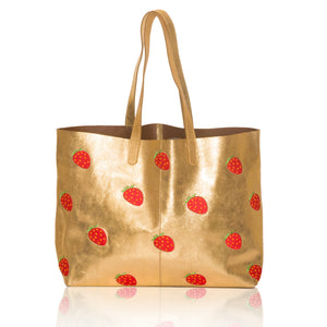 Leather Strawberry E/W Tote