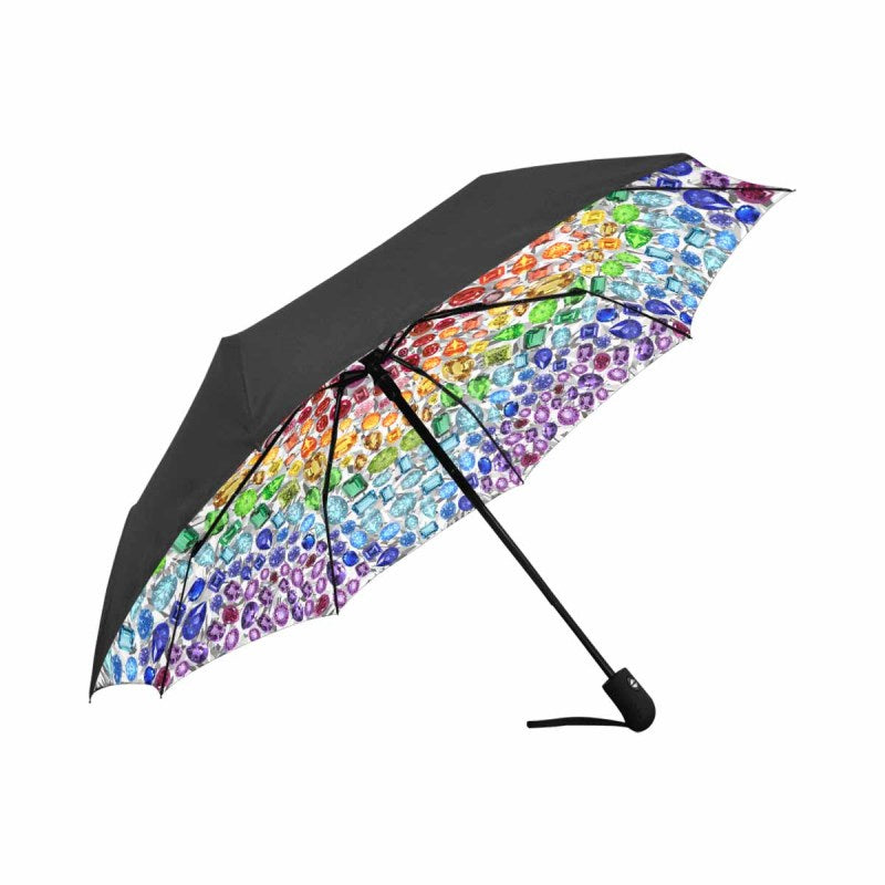 """You are a GEM"" Rainbow Gemstone Automatic Umbrella (White)"