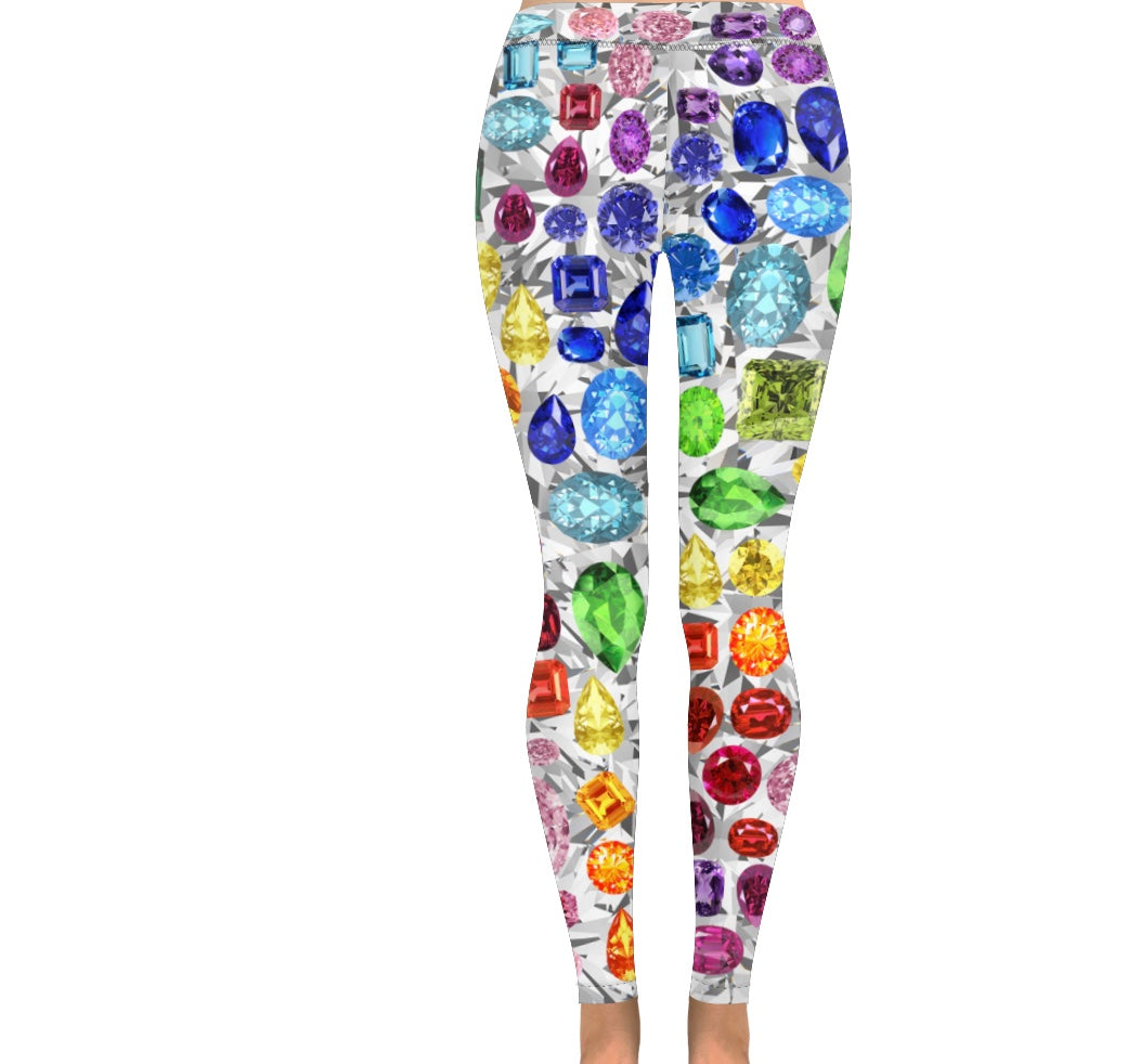 Rainbow Gemstone Leggings (White)