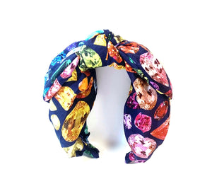*NEW Navy Top Knot Gem Print SILK Headband