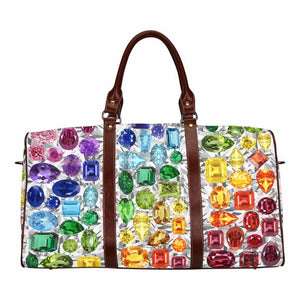 Small Rainbow Gemstone Duffel (White)