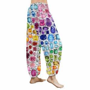 Rainbow Gemstone Harem Pants (White)