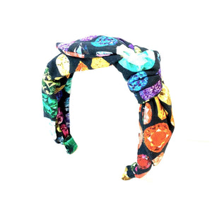 Black Side Knot Gem Print Headband