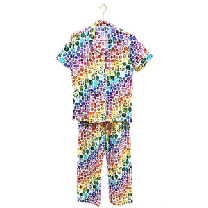 *PRE-ORDER* Rainbow Gem Pajamas Cotton- Ivory/Rainbow