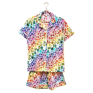 *PRE-ORDER* Rainbow Gem Pajamas Cotton - Ivory/Rainbow