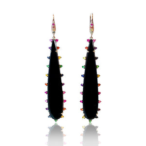 Onyx Earrings with Multi Sapphires