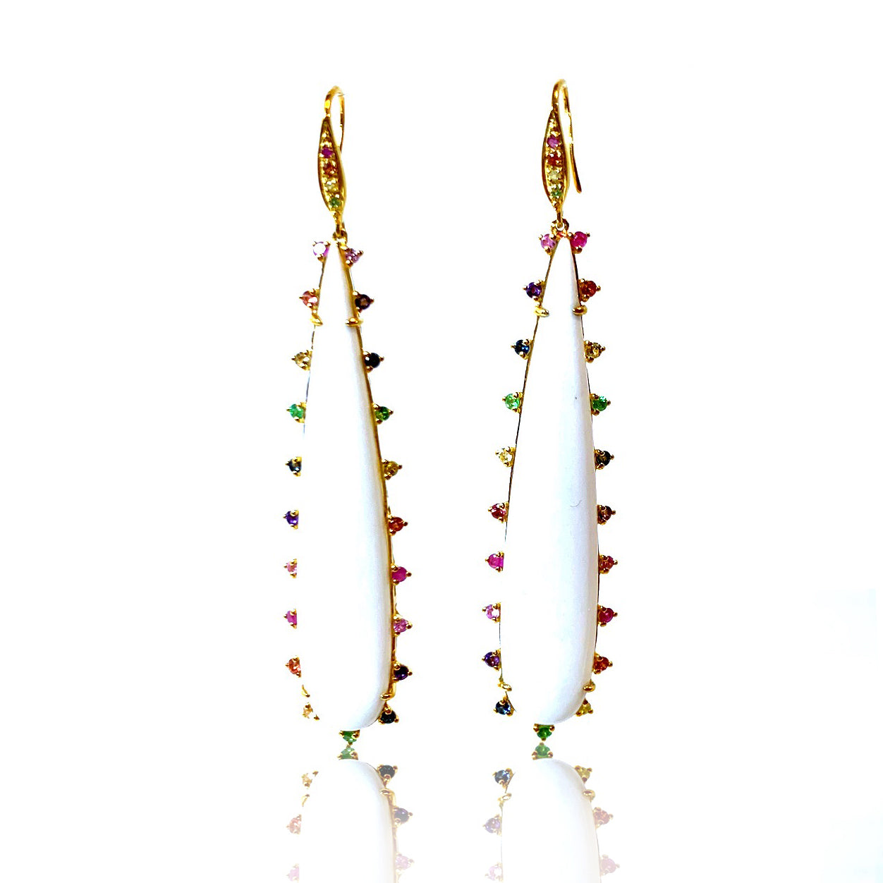 White Onyx Earrings with Multi Sapphires