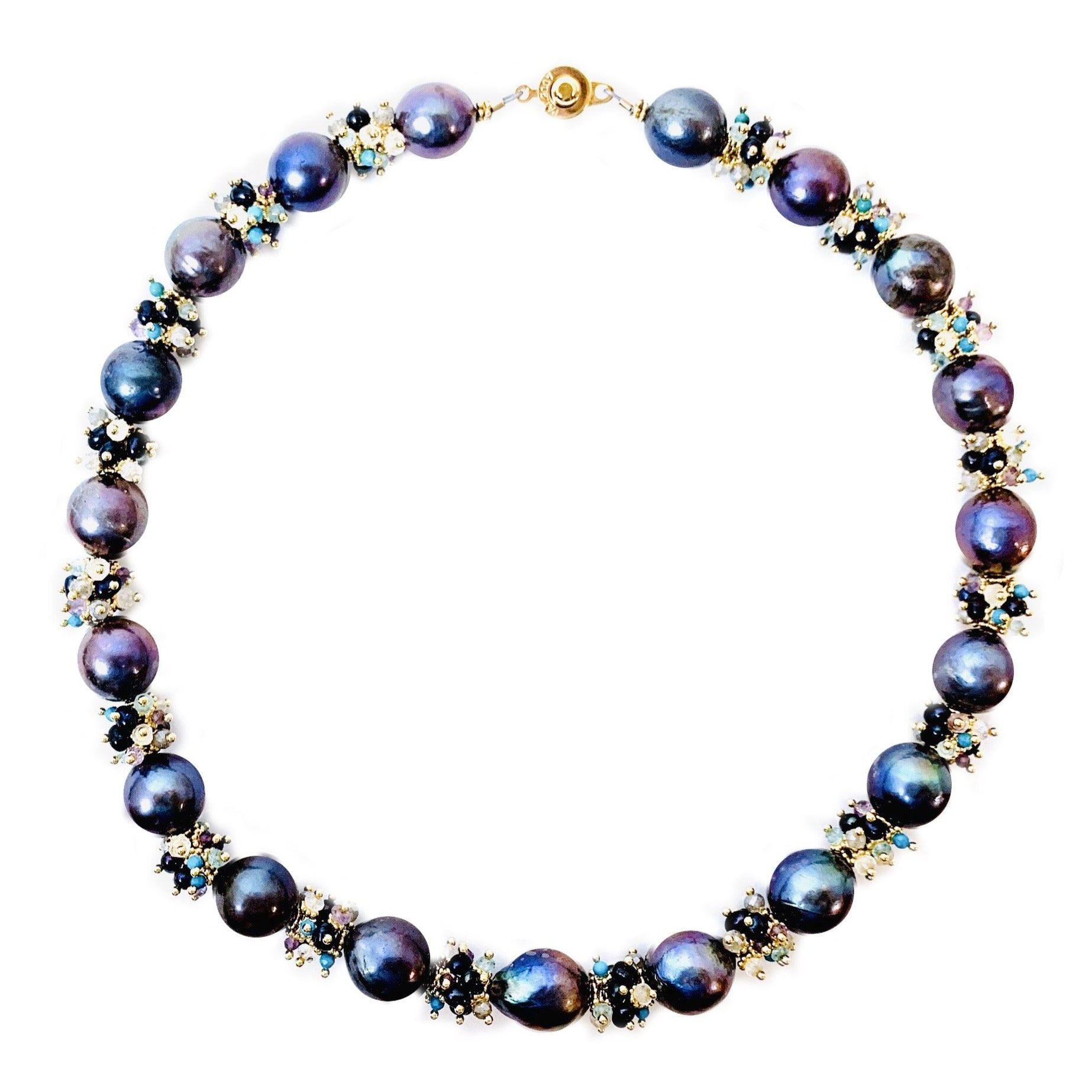 Peacock Baroque Freshwater Pearl Necklace with Assorted Semi Precious Clusters