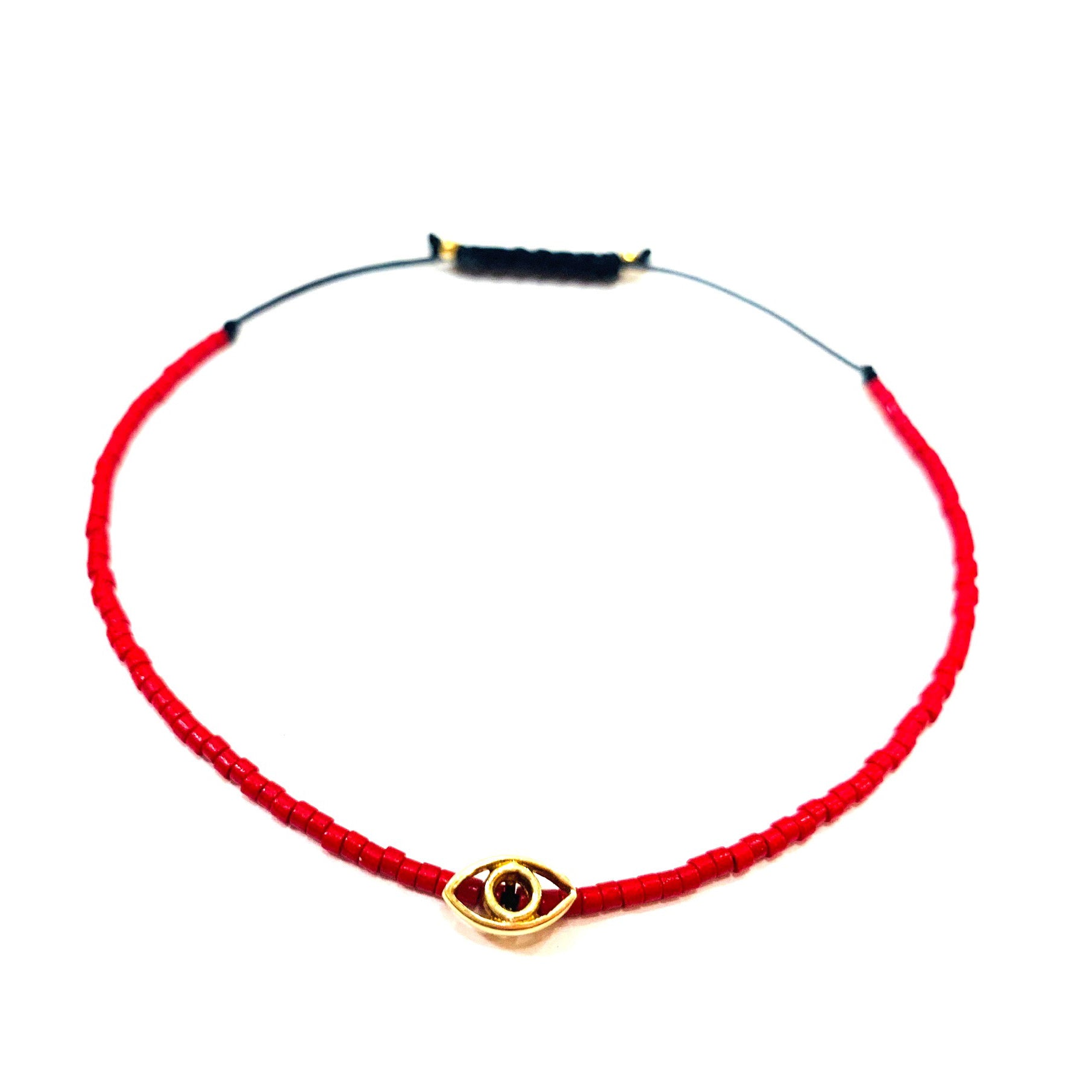 Tiny Red Miyuki beads with Gold Plated Evil Eye