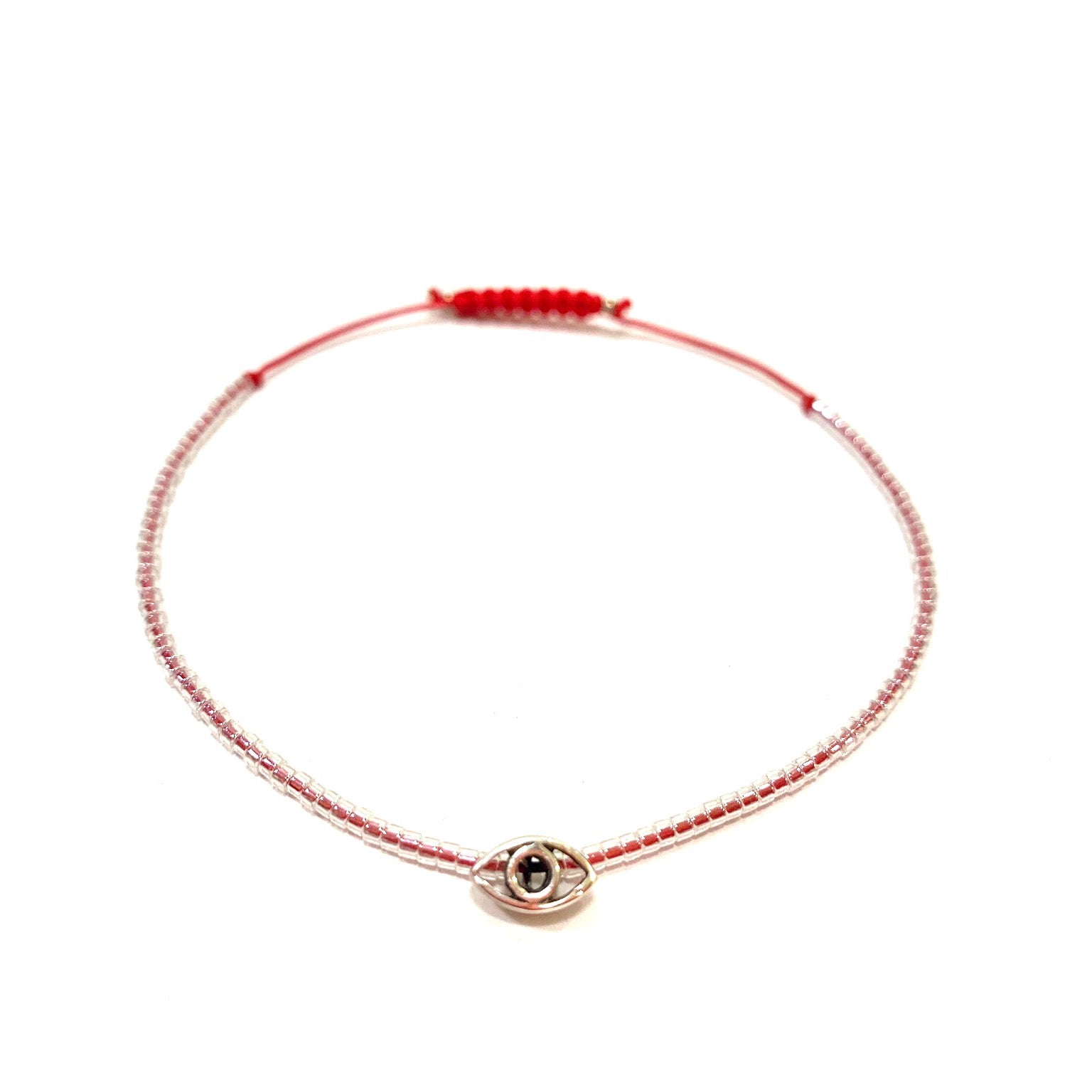 Tiny Clear Miyuki beads with Red String and Sterling Silver Evil Eye