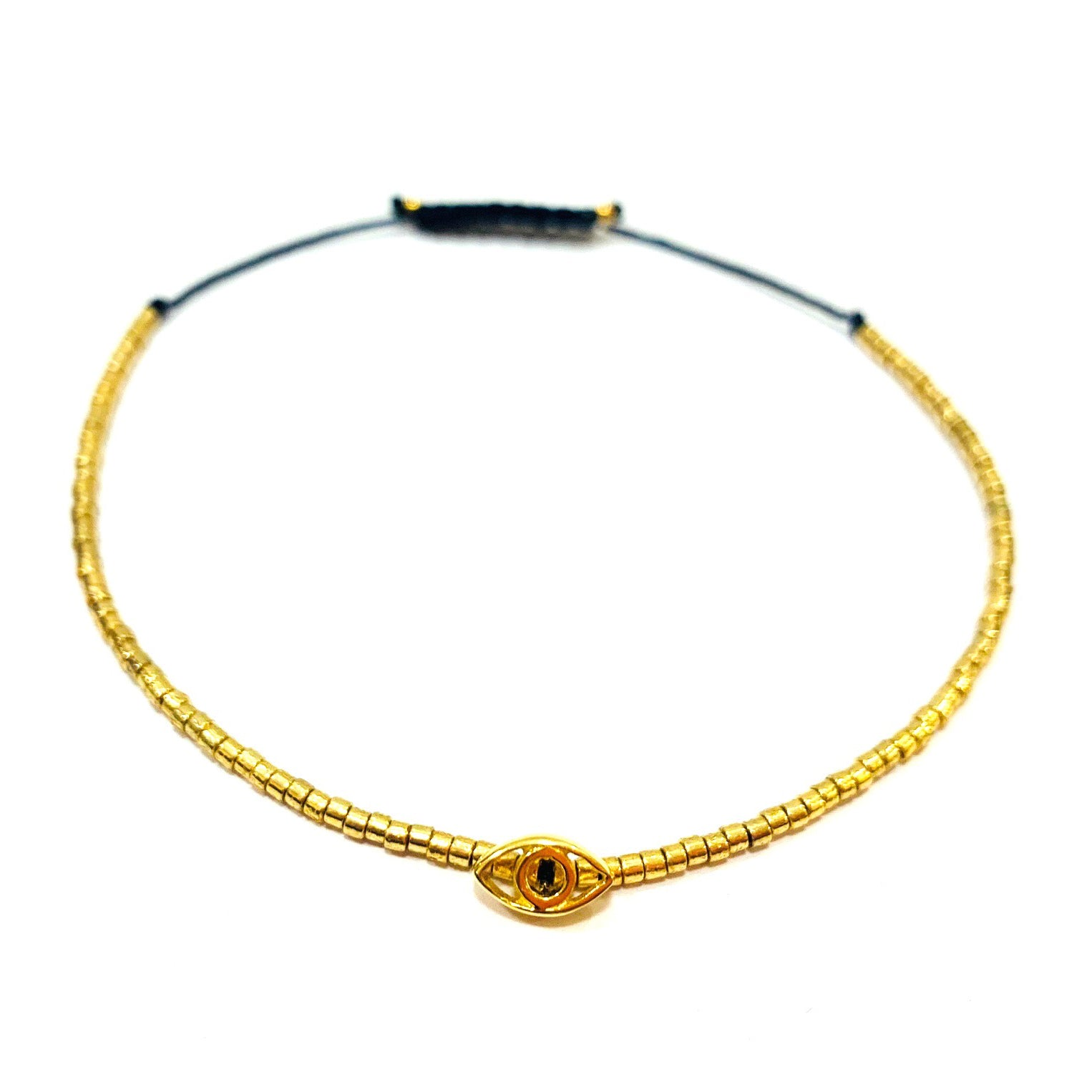 Tiny Gold Miyuki beads with Gold Plated Evil Eye