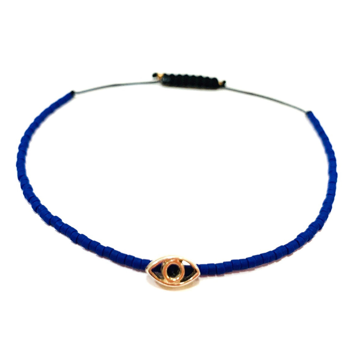 Tiny Blue Miyuki Beads with Sterling Silver Evil Eye