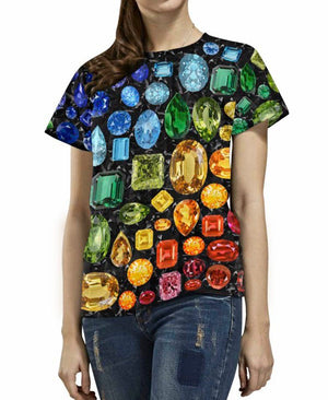 Rainbow Gemstone T-Shirt (Black)