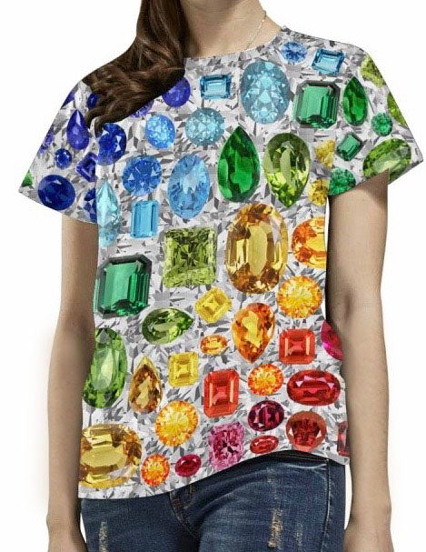 Rainbow Gemstone T-Shirt (White)