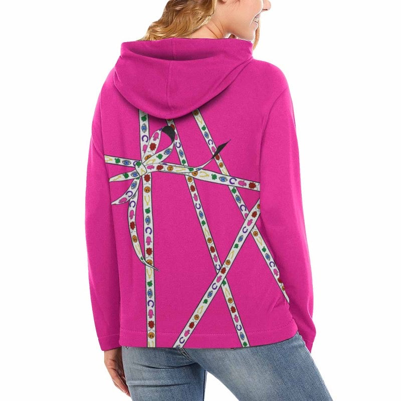 Lucky Charm Ribbon Hoodie (Neon Pink)