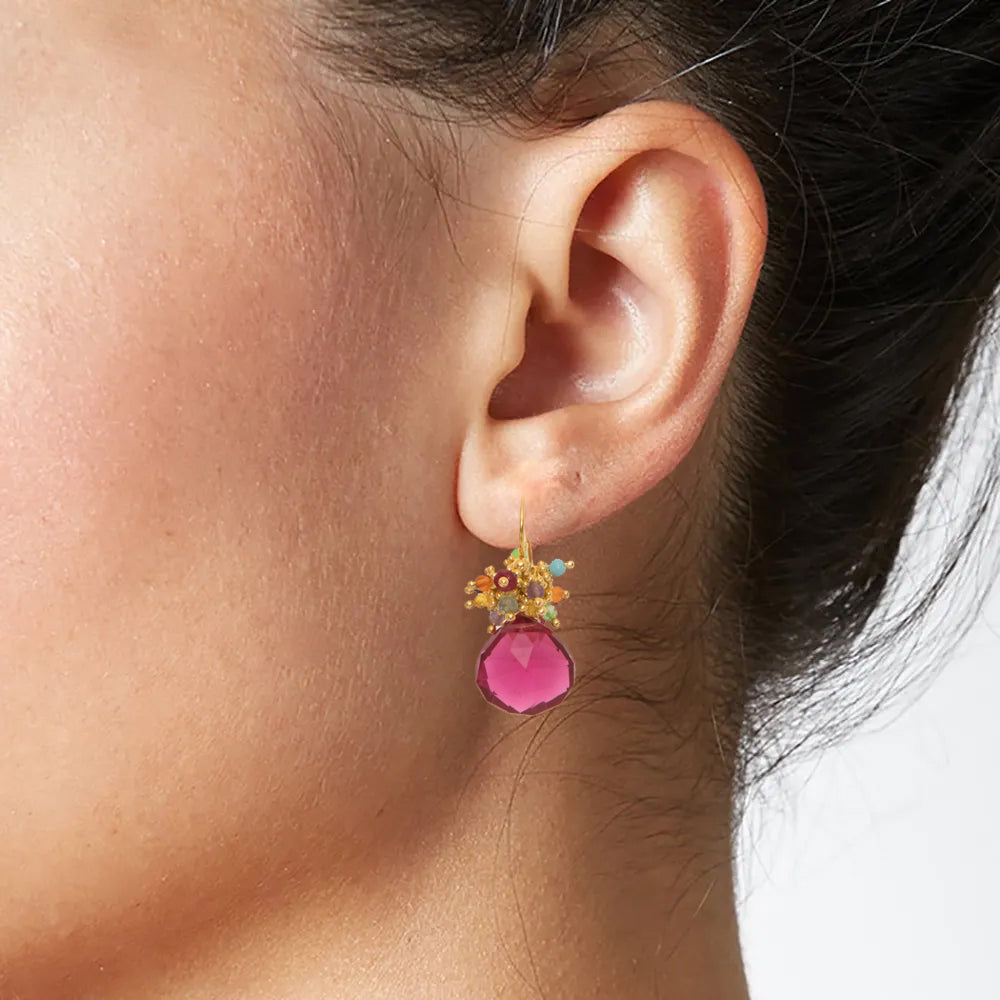Pink Quartz Classic Earring with Rainbow Top