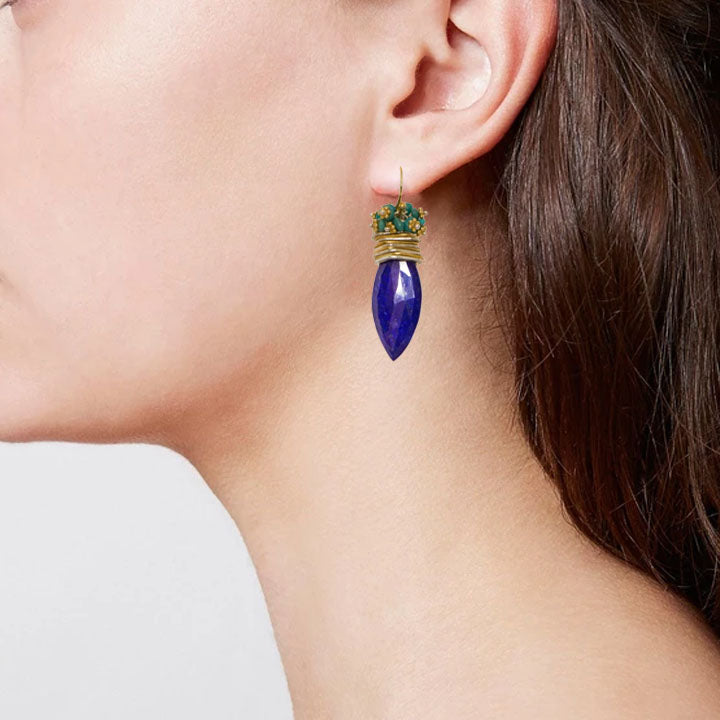 Lapis Marquis Queen Bee Earring w/ Turquoise Top
