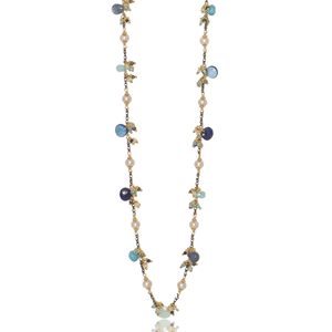 Long Linked Jellybean Necklace with Freshwater Pearls-Blue Combo