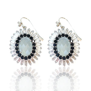 Grey Chalcedony, Black Spinel and White Topaz
