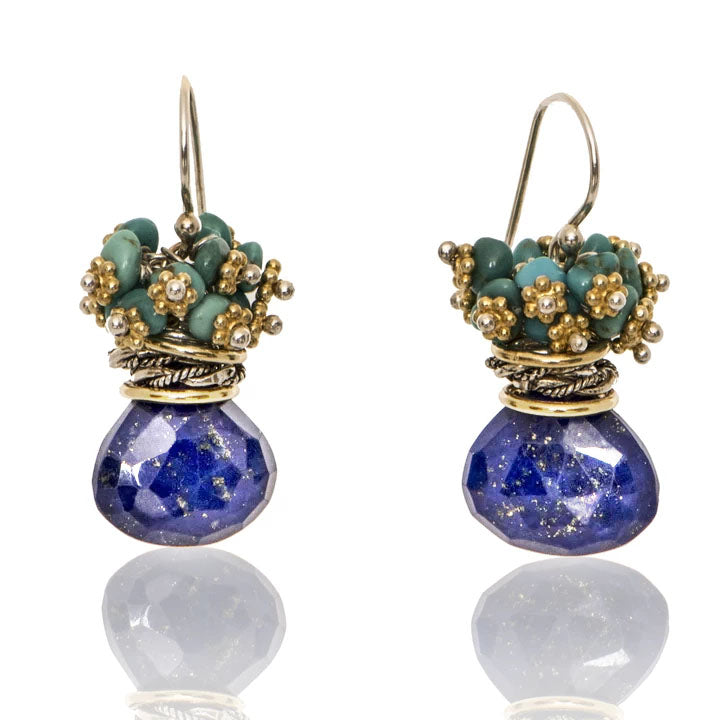 Lapis Queen Bee Earrings w/ Turquoise Top