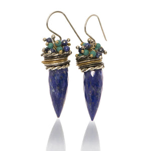 Lapis Bullet Queen Bee Earrings w/ Lapis + Turquoise Top