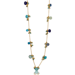 Short Linked Classic Jellybean Necklace - Blues