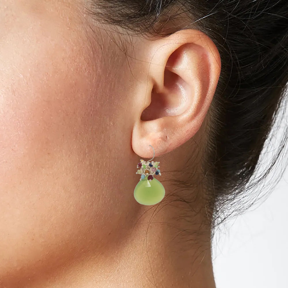 Chrysoprase Classic Earring with Rainbow Top