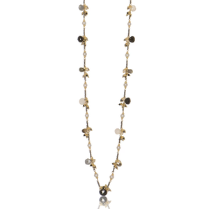 Long Linked Jellybean Necklace with Freshwater Pearls-Neutral Combo