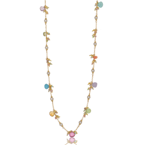 Long Linked Jellybean Necklace with Freshwater Pearls-Pastel Combo