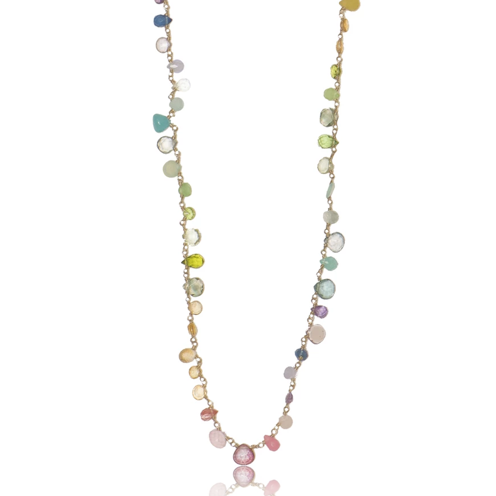 Long Pastel Ombre Necklace with Assorted Pastel Semi Precious Stones