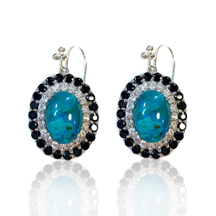 Chrysocolla with Quartz, White Topaz and Black Spinel
