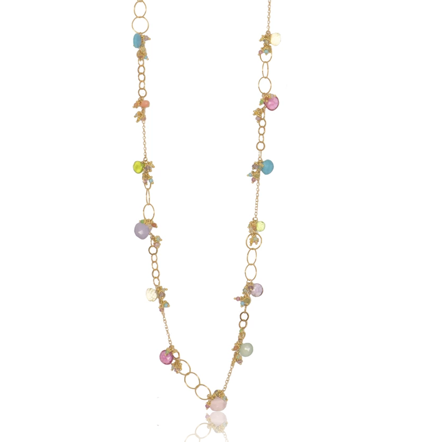 Long Multi Chain Necklace with Assorted Pastel Gemstones