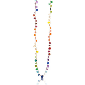 Long Rainbow Ombre Linked Necklace with Briolettes